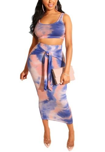 Tie Dye Crop Top & Knot Front Slinky Midi Skirt