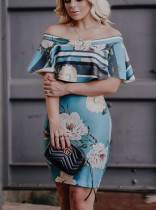 Ruffle Off Shoulder Blue Floral Slinky Midi Dress