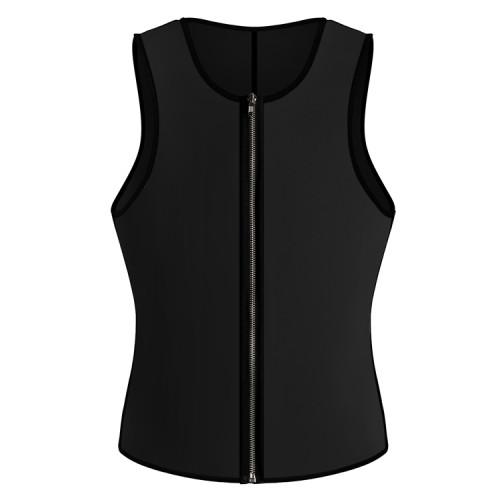 Men's Zipper Neoprene Sauna Vest Tank Shaper Slim Waist-Black