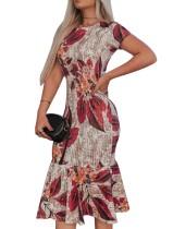 Short Sleeve Leaf Print Mermaid Bodycon Dress
