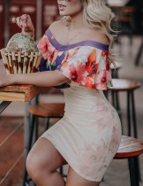 Contrast Ruffle Off Shoulder Tight Midi Dress