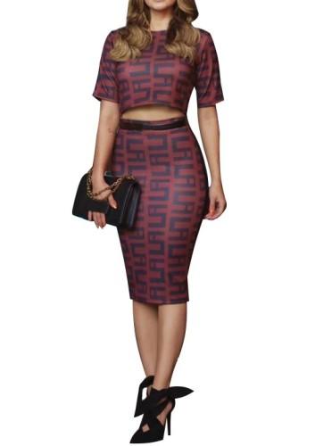 Burgundy Geometric Print Crop Top and Midi Skirt