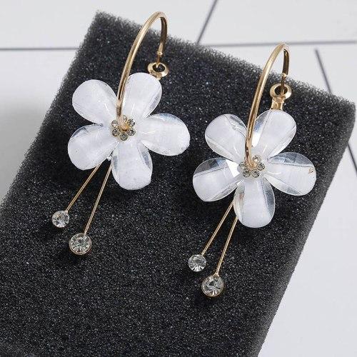 Wholesale Petal Acrylic Zircon Tassel Transparent Earrings
