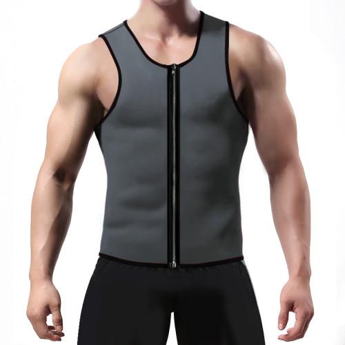 Men's Zipper Neoprene Sauna Vest Slim Shaper-Grey