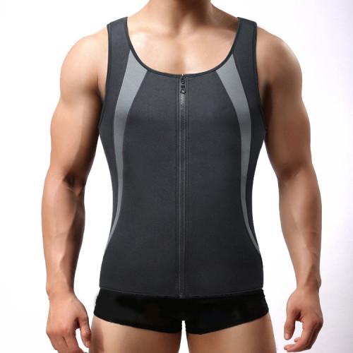 Men's Zipper Racer Back Body Shaper Neoprene Sauna Vest