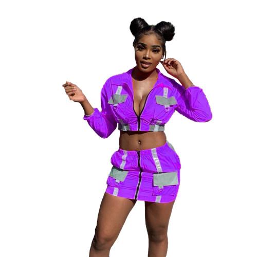 Purple Reflective Panel Zipper Crop Jacket and Mini Skirt