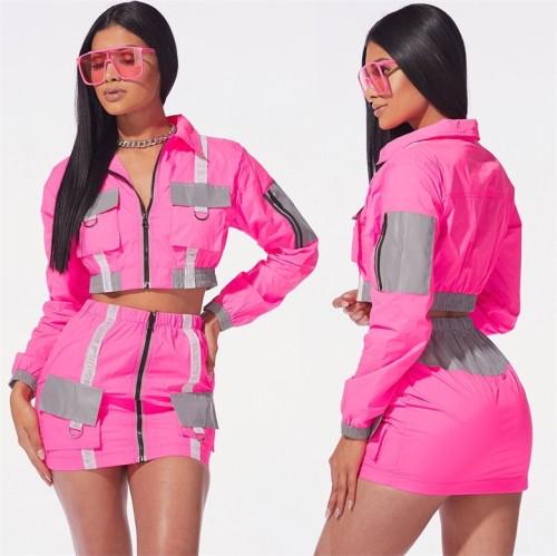 Hot Pink Reflective Panel Zipper Crop Jacket and Mini Skirt
