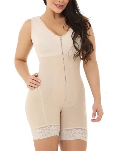 Beige Sleeveless Zip Up One Piece Slimming Bodysuit Shaper