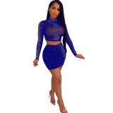 Blue Rhinestone Long Sleeve Mesh Crop Top Mini Skirt Set