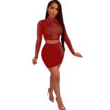 Red Rhinestone Long Sleeve Mesh Crop Top Mini Skirt Set