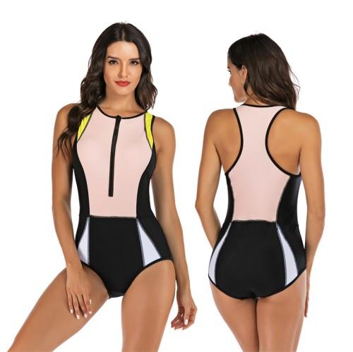 Pink Colorblock Racerback One Piece Swimsuit