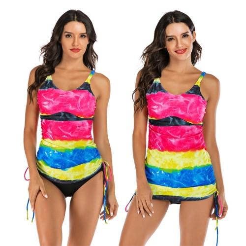 Rainbow Wide Striped Drawstring Swim Dress Two Piece Swimwear