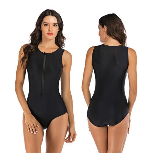 Pure Black Zip Front Sleeveless Surf One Piece Swimwear