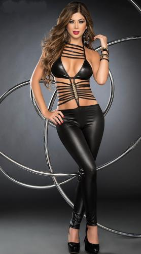 Wholesale Sexy Black Leather costumes  women Catsuits