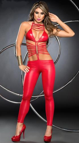 Red Sexy Leather costumes  women Catsuits with Wholesale