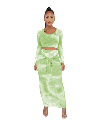 Green Tie Dye Crop Top & Tie Waist Long Skirt
