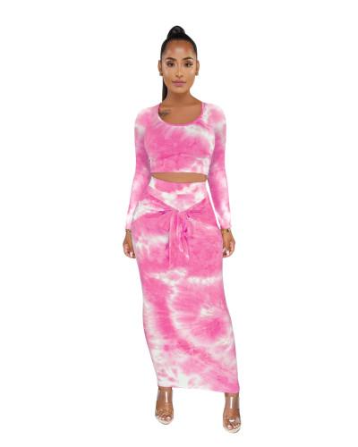 Hot Pink Tie Dye Crop Top & Tie Waist Long Skirt