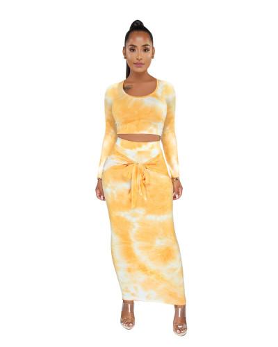 Yellow Tie Dye Crop Top & Tie Waist Long Skirt