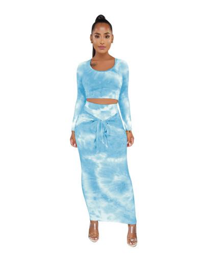 Blue Tie Dye Crop Top & Tie Waist Long Skirt