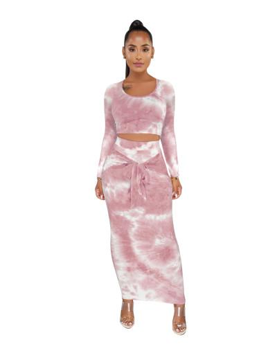 Tie Dye Crop Top & Tie Waist Maxi Skirt Set