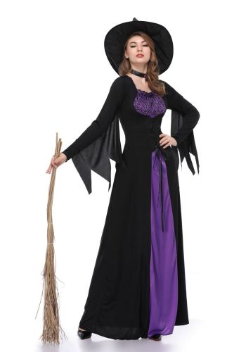 Black Purple Witch Girl Role Play Cosplay Halloween Costume