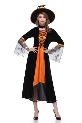 Black Orange Witch Girl Role Play Cosplay Halloween Costume