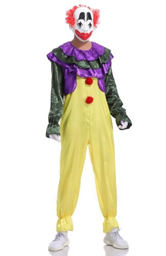 Mens Role Play Jumpsuit Clown Cosplay Adult Halloween Costume