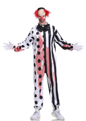 Clown Cosplay Mens Role Play Jumpsuit Adult Halloween Costume