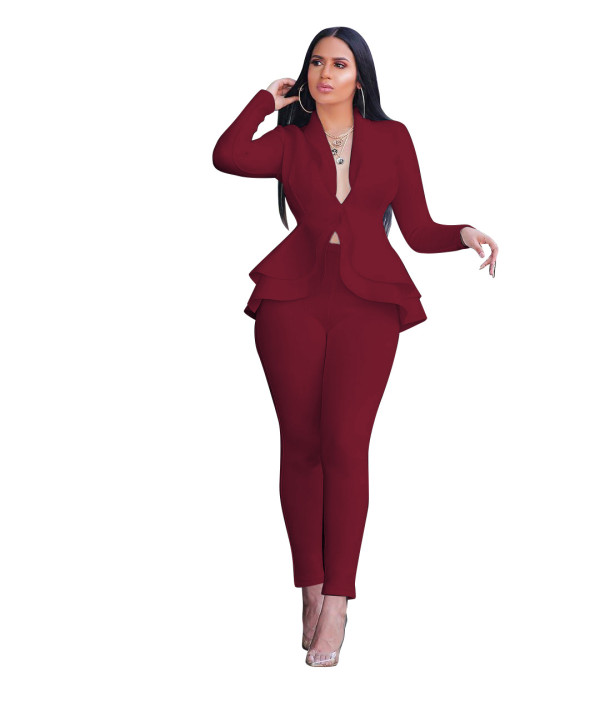 Office Fitted Burgundy Peplum Blazer and Pants Set