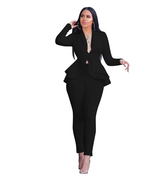 Black Fitted Office Peplum Blazer and Pants Set