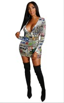 Colorful Newspaper Print Deep V Ruched Bodycon Dress