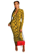 Two Way Yellow Snakeskin Print Zipper Long Bodycon Dress