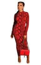 Two Way Red Snakeskin Print Zipper Long Bodycon Dress