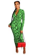 Green Snakeskin Print Two Way Zipper Long Bodycon Dress