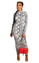 Two Way Grey Snakeskin Print Zipper Long Bodycon Dress