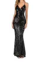 Black Geometric Sequined Straps Maxi Mermaid Evening Dress