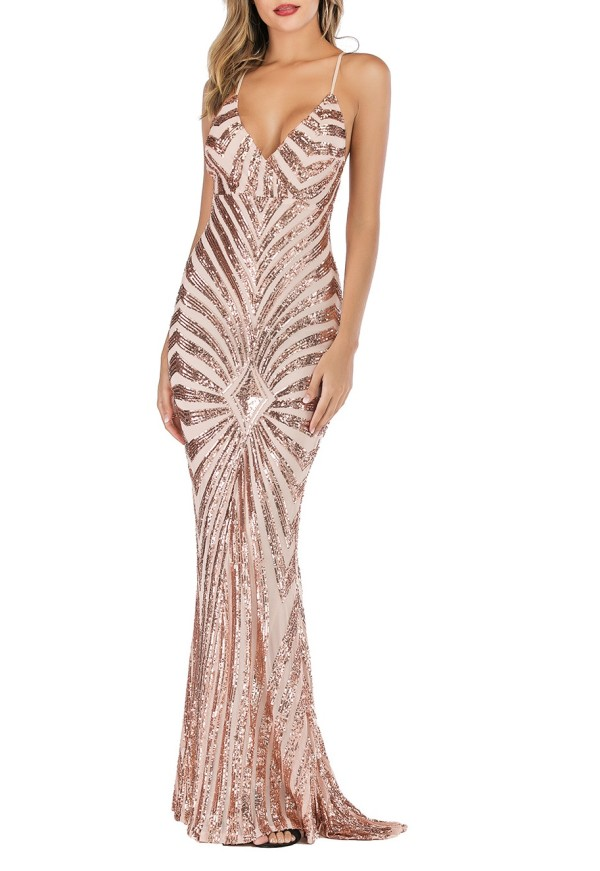 Geometric Sequined Straps Maxi Mermaid Evening Dress