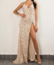 Sexy Tassel Sequin V Neck High Slit Open Back Evening Dress