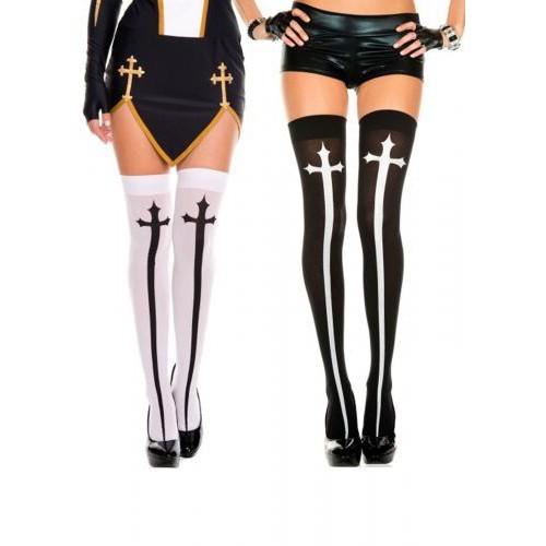 Cross Print Thigh High Stockings Sexy Nun Cosplay