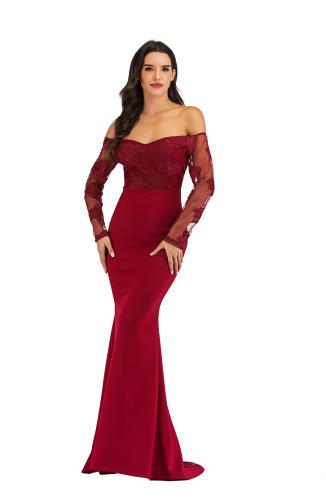 Off Shoulder  Burgundy Lace Bodice Long Prom Dress