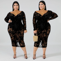 Hot Black See Through Floral Lace Plus Dress XL-6XL