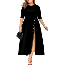 Half Sleeve Button Trim Fit and Flare Plus Midi Dress