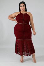 Plus Burgundy Floral Lace Sleeveless Mermaid Party Dress
