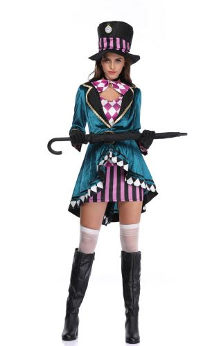 Alice In Wonderland Mad Hatter Halloween Witch Costume