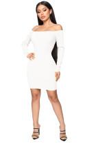 White Off Shoulder Rib Knit Bodycon Mini Dress