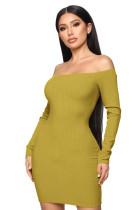 Plain Off Shoulder Rib Knit Bodycon Mini Dress