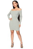 Gray Off Shoulder Rib Knit Bodycon Mini Dress