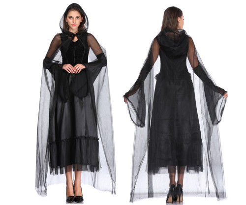 Witch Cosplay Black Dress Womens Halloween Costume
