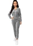 Gray Velvet Front Pocket Hooded Tracksuit