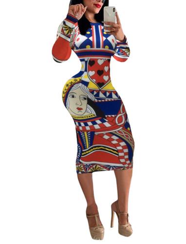 Printed Poker Long Sleeve Fashion Bodycon Dress